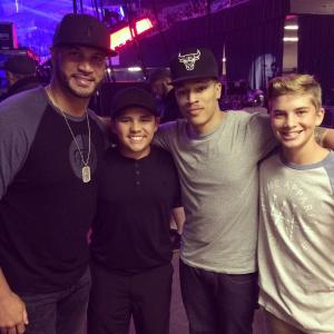 Albert Pujols with Trip Lee. The Angels slugger attended Lee's November 8 Winter Jam concert.